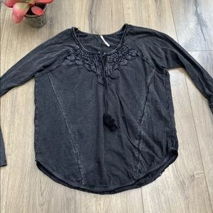 Free People XS Black Long Sleeve Embroidered Top